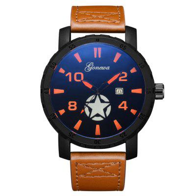 GON003 Men Fashion Big Face Leather Wrist Watches