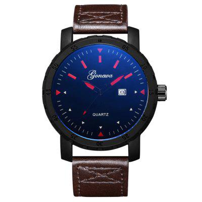 GON005 Fashion Men Big Face Leather Simple Wrist Watch