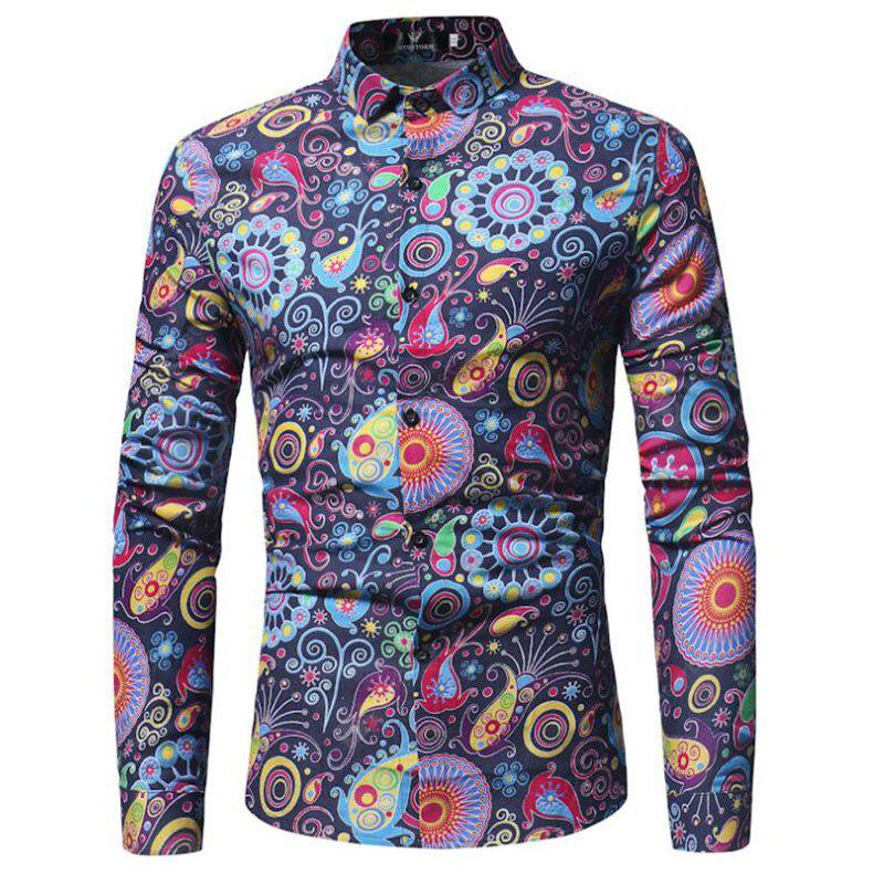 Men's Party Vintage Active Chinoiserie All Seasons Floral Standing Collar Long Sleeves Polyester Shirt