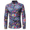 Men's Party Vintage Active Chinoiserie All Seasons Floral Standing Collar Long Sleeves Polyester Shirt - BLUE
