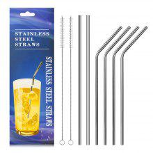Food Grade Stainless Steel Metal Reusable Drinking Straws Set for Cocktail Latte Iced Tea with 2 Cleaning Brushes