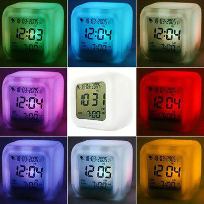 Multi function Cartoon Child Snooze 7 Color Glowing Change Digital Alarm Clock LED Watch Glowing Alarm Thermometer Clock