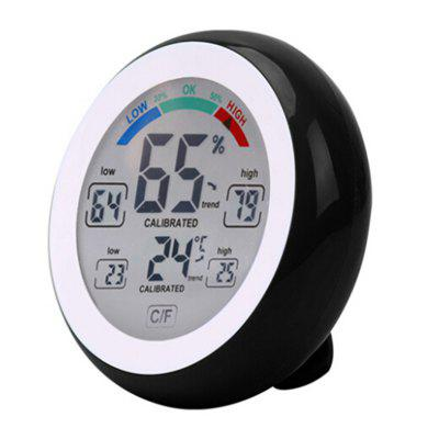 Indoor Touch Screen Digital Thermometer Hygrometer Temperature Humidity Meter Clock