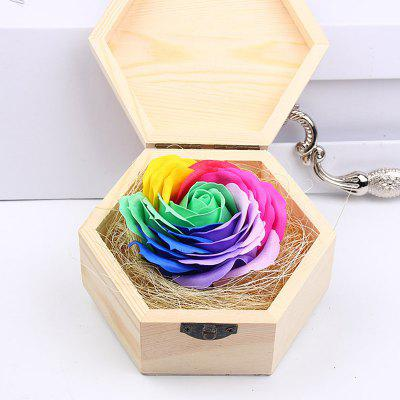 Soap Flower Sweet Solid Artificial Rose Flower With Wooden Box