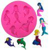 3D Mermaid Dolphin Silicone Cake Mold Baby Party Fondant Cake Decorating Tools Cupcake Chocolate Baking Moulds - PINK