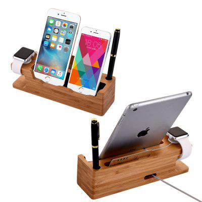 Bamboo Wooden Charging Dock Station Holder Stand Desktop Bracket for iWatch Smartphone