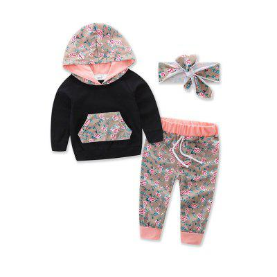 Girl'S Pure Cotton Medium and Small Child Long Sleeved Printing Cap Suit