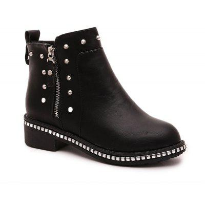 Buy BLACK 37 Winter Fashion Leisure Round Head Rivet Comfortable Flat Martin Boots for $29.16 in GearBest store