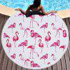 Flamingo Beach Towel  Thick Terry Round Beach Towel Blanket Yoga Mat with Fringe Tassels 60 Inch - RED