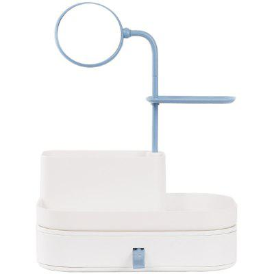 Bonawu The Desktop Cosmetics Collection Box One Mirror One Drawer Contracted To Receive Blue