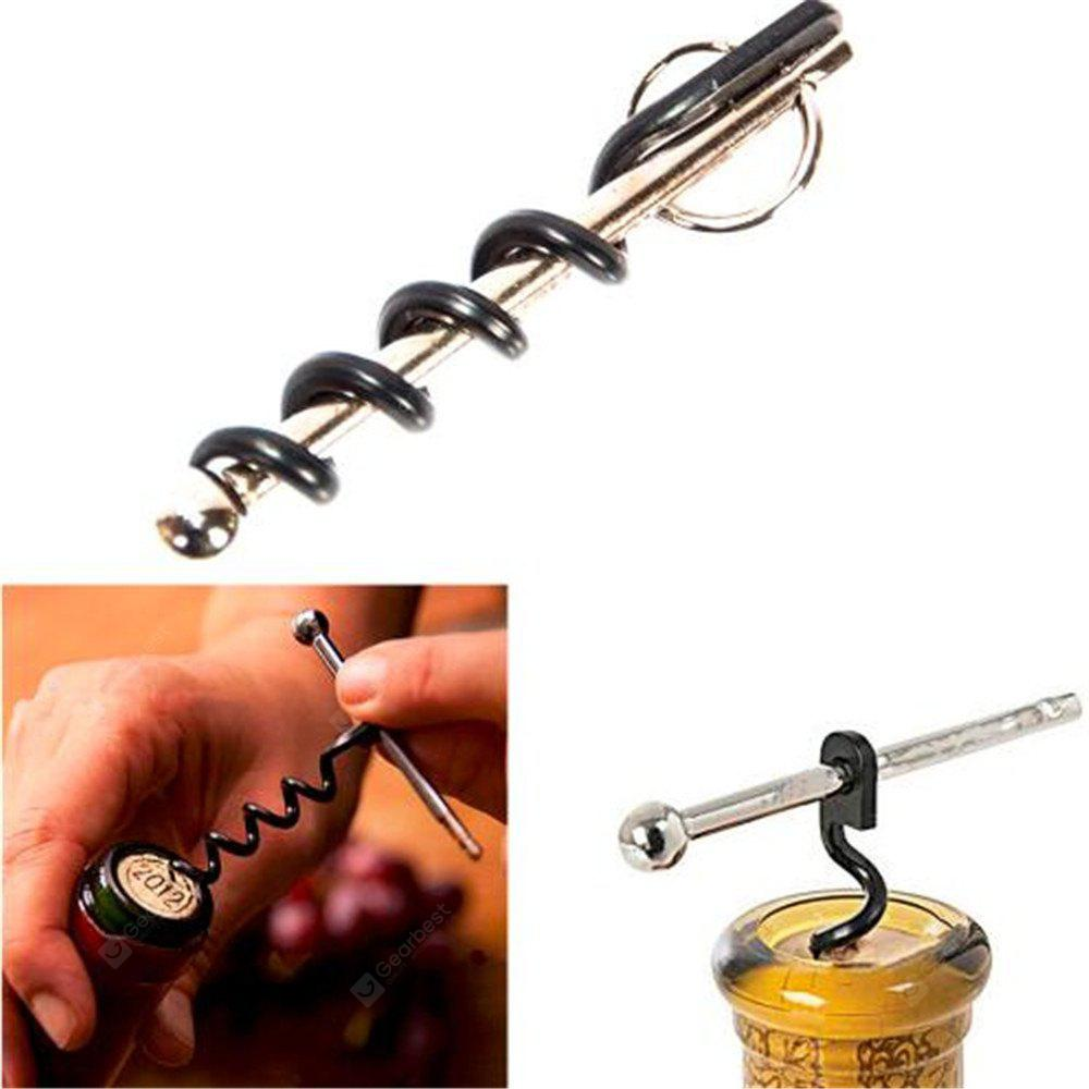 Mini Outdoor Stainless Steel Red Corkscrew Wine Bottle Opener with Ring Keychain Bottle Opener
