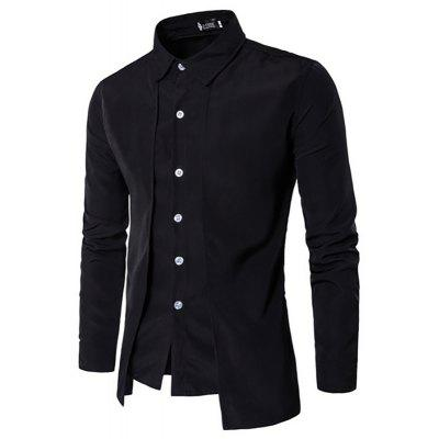 Men's New Double-Breasted Fashion Long-Sleeved Shirt