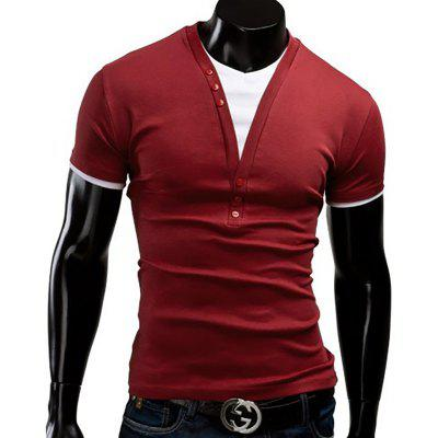 Mens New V-Collar Fake Two Short-Sleeved T-ShirtMens T-shirts<br>Mens New V-Collar Fake Two Short-Sleeved T-Shirt<br><br>Collar: V-Neck<br>Material: Cotton, Cotton Blends<br>Package Contents: 1xT-shirts<br>Pattern Type: Solid<br>Sleeve Length: Short Sleeves<br>Style: Fashion<br>T-shirts: None<br>Weight: 0.1800kg