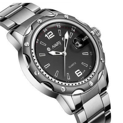 NARY 6108 1216 Leisure Fashion Band Calendar Steel Waterproof Man Quartz WatchMens Watches<br>NARY 6108 1216 Leisure Fashion Band Calendar Steel Waterproof Man Quartz Watch<br><br>Band material: Fine steel<br>Band size: 21.5 x 2.1cm<br>Brand: NARY<br>Case material: Alloy<br>Clasp type: Folding clasp with safety<br>Dial size: 4.3 x 4.3 x 1.1cm<br>Display type: Analog<br>Movement type: Quartz watch<br>Package Contents: 1 x Watch, 1 x Box<br>Package size (L x W x H): 28.00 x 8.00 x 3.50 cm / 11.02 x 3.15 x 1.38 inches<br>Package weight: 0.1300 kg<br>Product size (L x W x H): 21.50 x 4.30 x 1.10 cm / 8.46 x 1.69 x 0.43 inches<br>Product weight: 0.1000 kg<br>Shape of the dial: Round<br>Watch mirror: Mineral glass<br>Watch style: Casual, Business, Fashion<br>Watches categories: Men<br>Water resistance: 30 meters<br>Wearable length: 21.5- 25cm