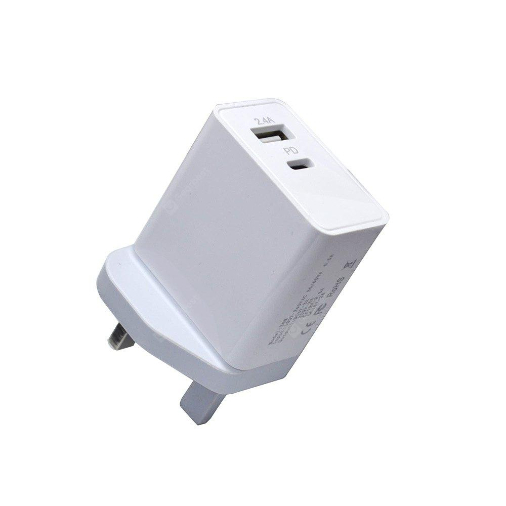 Type C PD Charger 2.4A USB Power Adapter Fast Charge UK Plug for iPhone X iPhone 8 Samsung