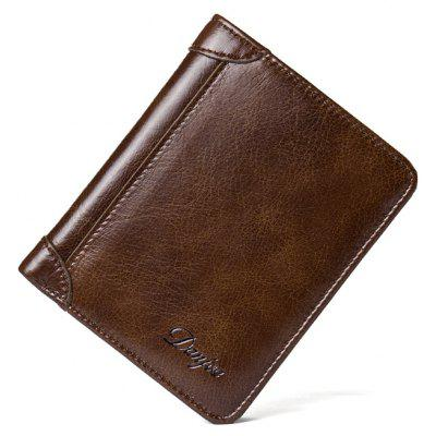 DANJUE New Wallets Men Luxury Genuine Cow Leather Brand Man Purse Vintage Short Big Capacity Business Designer Licence bvp luxury brand weave plain top grain cowhide leather designer daily men long wallets purse money organizer j50