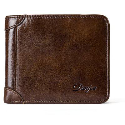 DANJUE New Wallets Men Luxo Genuine Cow Leather Brand Man Purse Vintage Short Grande capacidade Business Designer Licença
