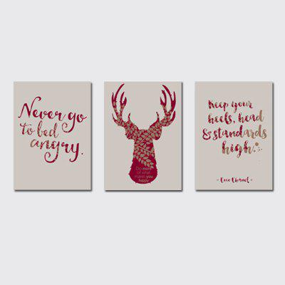 QiaoJiaHuaYuan No Frame Canvas Tree a Picture of the Living Room Sofa English Letter elk Print