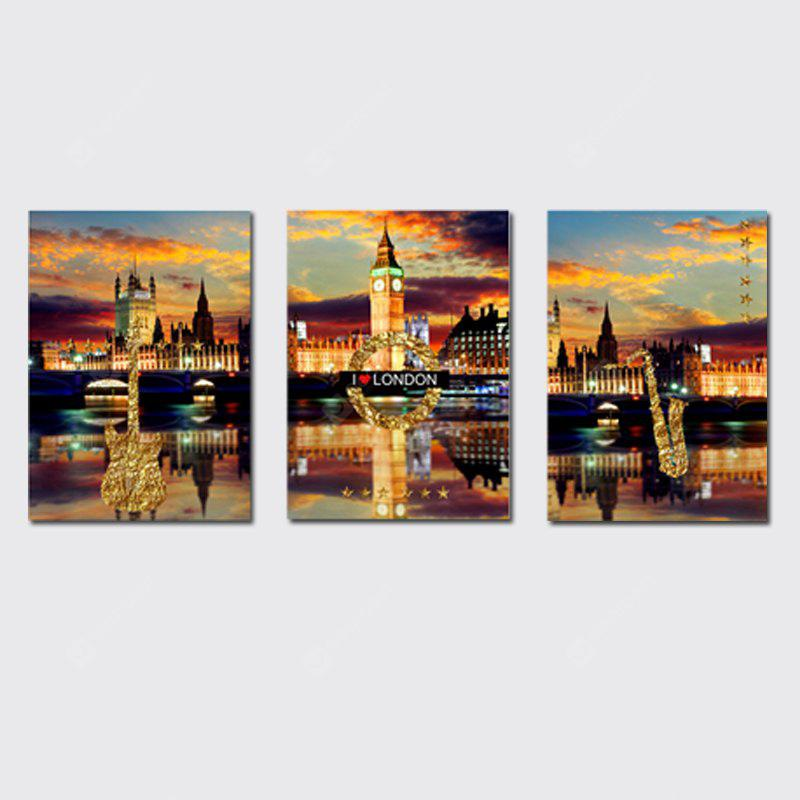 QiaoJiaHuaYuan No Frame Canvas Three Pieces of The Living Room Bedroom Background Decorated With the Night View of The