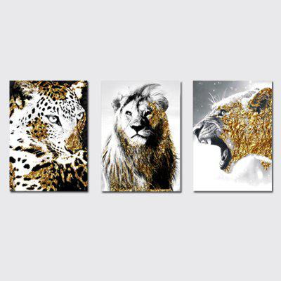 QiaoJiaHuaYuan No Frame Canvas Three - Piece Living Room Sofa Background Decoration Hanging Painting Animal Tiger Lion