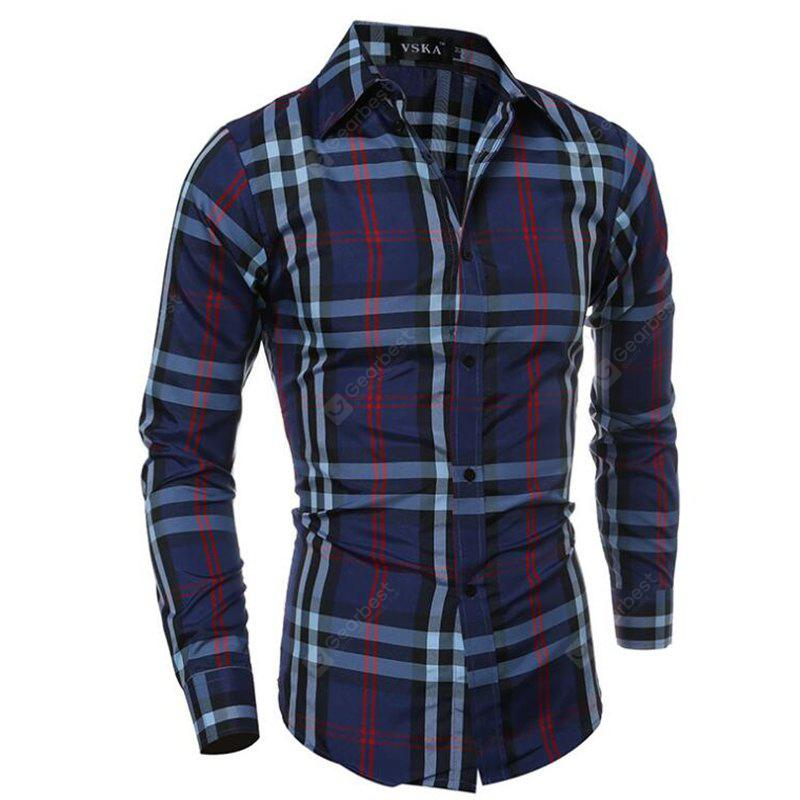 Dark Navy Dress Shirt Lattice Men Turndown Collar Long Sleeve Regular Fit Cotton Shirt