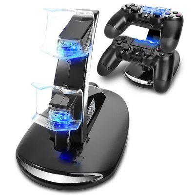 PS4 Controller Charger, Dual USB Charging Docking Station Stand with LED Lights