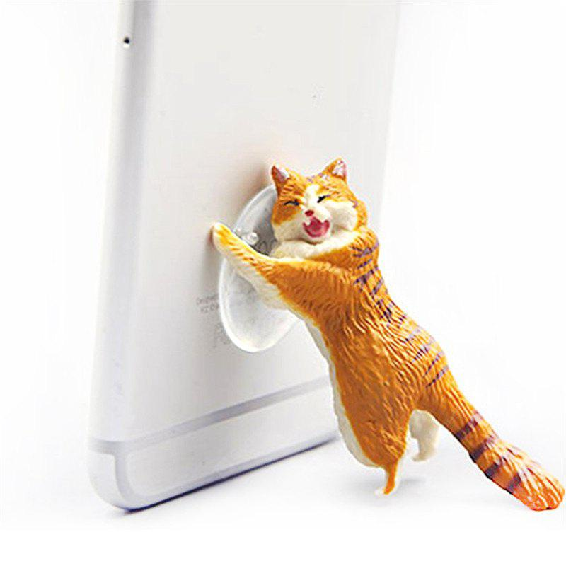 Cute Cartoon Simulation Cat Phone Sucker Bracket Model Phone Bracket YELLOW