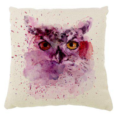 The owl hand color ink cotton pillow animal head