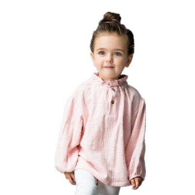 2017 Yingzifang Toddler Girls Casual Solid Colour Sleeves Folded Collar Linen Cotton Tee
