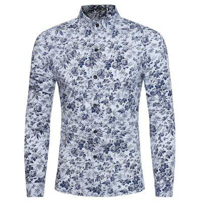 Spring and Autumn New Casual Sleeved Floral Color Mosaic Floral Shirt
