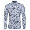 Spring and Autumn New Casual Sleeved Floral Color Mosaic Floral Shirt - WHITE