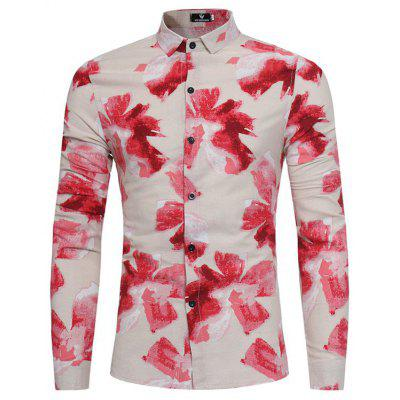 The Young Men'S Fashion Personality Slim Floral Print Floral Shirt Polo Collar Shirt