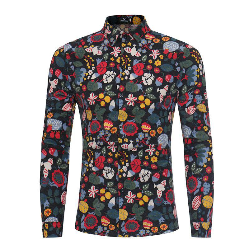 Male Long Sleeved Floral Shirt
