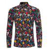 Male Long Sleeved Floral Shirt - BLACK