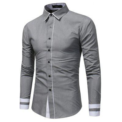 New Men Fashion Splice Casual Business Shirt