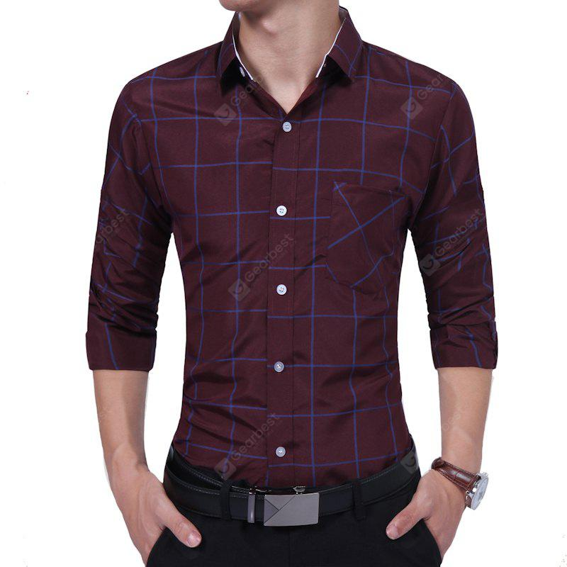 Spring Men Business Long Sleeved Father Plaid Middle Age Casual Shirt