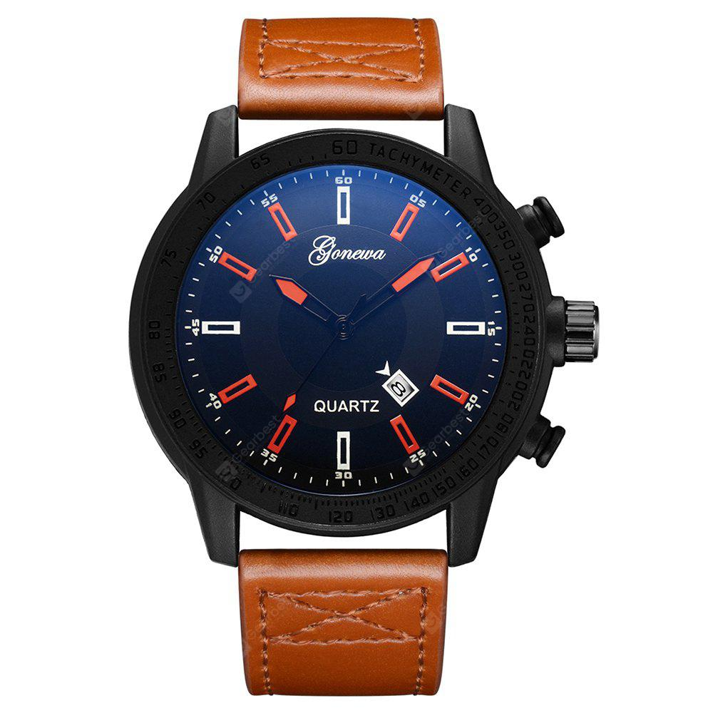 GON014 Men Big Face Leather Band Wrist Watche