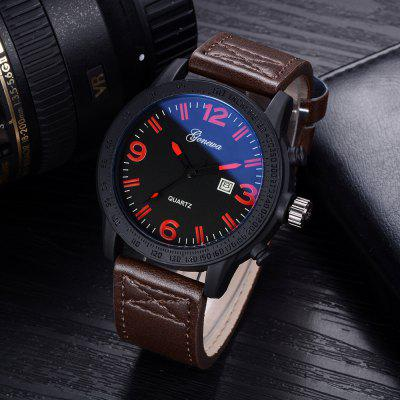 GON015 Men Leather Band Big Face Quartz WatchMens Watches<br>GON015 Men Leather Band Big Face Quartz Watch<br><br>Band material: PU Leather<br>Band size: 26 x 2.4 CM<br>Case material: Alloy<br>Clasp type: Pin buckle<br>Dial size: 4.7 x 4.7 x 1.1 CM<br>Display type: Analog<br>Movement type: Quartz watch<br>Package Contents: 1 x Watch<br>Package size (L x W x H): 29.00 x 6.50 x 1.20 cm / 11.42 x 2.56 x 0.47 inches<br>Package weight: 0.0580 kg<br>Product size (L x W x H): 26.00 x 4.70 x 1.10 cm / 10.24 x 1.85 x 0.43 inches<br>Product weight: 0.0560 kg<br>Shape of the dial: Round<br>Special features: Day<br>Watch mirror: Mineral glass<br>Watch style: Trends in outdoor sports, Retro, Business, Fashion, Casual<br>Watches categories: Men
