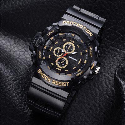 GON048 Men Silicon Band Analog Quartz Sport WatchMens Watches<br>GON048 Men Silicon Band Analog Quartz Sport Watch<br><br>Band material: Silicone<br>Band size: 27 x 2.3 CM<br>Case material: Alloy<br>Clasp type: Pin buckle<br>Dial size: 5.1 x 5.1 x 1.3 CM<br>Display type: Analog<br>Movement type: Quartz watch<br>Package Contents: 1 x Watch<br>Package size (L x W x H): 29.00 x 6.50 x 1.50 cm / 11.42 x 2.56 x 0.59 inches<br>Package weight: 0.0470 kg<br>Product size (L x W x H): 27.00 x 5.10 x 1.30 cm / 10.63 x 2.01 x 0.51 inches<br>Product weight: 0.0450 kg<br>Shape of the dial: Round<br>Watch mirror: Mineral glass<br>Watch style: Fashion, Business, Retro, Cool, Trends in outdoor sports, Outdoor Sports, Casual<br>Watches categories: Men,Male table