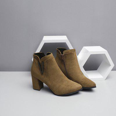 Tip Suede All-Match Rough Heel BootsWomens Boots<br>Tip Suede All-Match Rough Heel Boots<br><br>Boot Height: Ankle<br>Boot Type: Fashion Boots<br>Closure Type: Zip<br>Gender: For Women<br>Heel Type: Chunky Heel<br>Package Contents: 1xshoes(pair)<br>Pattern Type: Solid<br>Season: Spring/Fall, Winter<br>Toe Shape: Pointed Toe<br>Upper Material: Flock<br>Weight: 1.5000kg