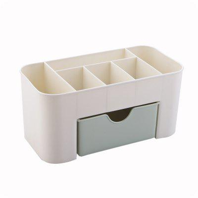 Solid Color Home Multi-Use Jewelry Cosmetic Storage Plastic Box with Small Drawer Desk