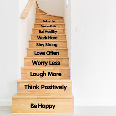 Quote Wall StickerEnjoy Life Staircase Decorative DecalWall Stickers<br>Quote Wall StickerEnjoy Life Staircase Decorative Decal<br><br>Art Style: Others<br>Effect Size (L x W): 107x57cm<br>Function: Decorative Wall Sticker<br>Layout Size (L x W): 107x57cm<br>Material: Vinyl(PVC)<br>Package Contents: 1 x Wall Sticer<br>Package size (L x W x H): 57.00 x 4.00 x 4.00 cm / 22.44 x 1.57 x 1.57 inches<br>Package weight: 0.2800 kg<br>Product Type: Others<br>Product weight: 0.2200 kg<br>Quantity: 1<br>Subjects: Words / Quotes<br>Suitable Space: Living Room,Bedroom,Study Room / Office<br>Type: Plane Wall Sticker