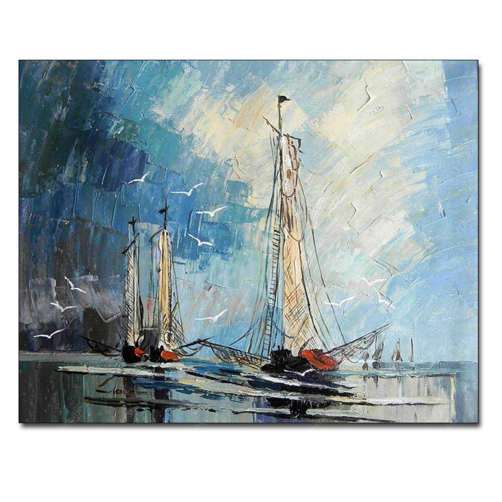 Hand Painted Abstract Sailboat Seascape Oil Painting on Canvas Living Room Bedroom Home Wall Decor No Framed COLORMIX
