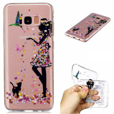 for Samsung Galaxy S8 Plus Girls and Cats Pattern Painted High Penetration TPU Material IMD Process Soft Case Phone Case