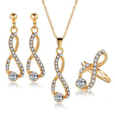 3PCS Luxury Crystal Diamond Earrings Necklace Ring Set