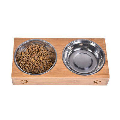 Perro Teddy Golden Bamboo Pet Double Bowl
