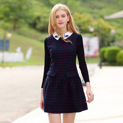 Doll Collar Long Sleeve Woolen Bottom DressSweater Dresses<br>Doll Collar Long Sleeve Woolen Bottom Dress<br><br>Dresses Length: Mini<br>Elasticity: Elastic<br>Embellishment: Pattern<br>Fabric Type: Worsted<br>Material: Microfiber<br>Neckline: Round Collar<br>Package Contents: 1 x Dress<br>Pattern Type: Polka Dot<br>Season: Spring, Winter, Fall<br>Silhouette: Straight<br>Sleeve Length: Long Sleeves<br>Style: Casual<br>Waist: Natural<br>Weight: 0.6000kg<br>With Belt: No