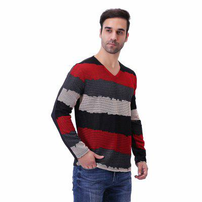Fashion Mesh Striped Patchwork Long Sleeve T ShirtMens T-shirts<br>Fashion Mesh Striped Patchwork Long Sleeve T Shirt<br><br>Collar: V-Neck<br>Material: Polyester<br>Package Contents: 1 x T Shirt<br>Pattern Type: Patchwork<br>Sleeve Length: Full<br>Style: Fashion<br>Weight: 0.2700kg