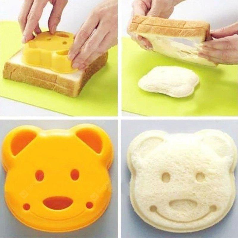 Sandwich Made with Bread Mold Mold DIY Cartoon Making Cookies with New Breakfast Toast Bread Mold (size: 9.7cm * 3cm 9.2cm, Yellow)