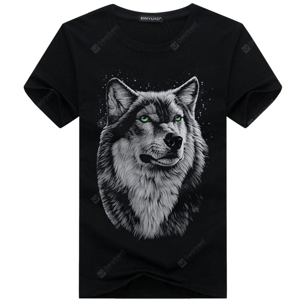 2018 Summer Mens New Short Sleeves 3D Wolf Printed Plus Size T-Shirt